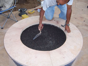 lava rock base for fire pit