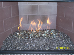 Fireplace and fire pit pictures using tumbled fire rated crushed ...