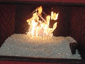 custom fireplace burning glass