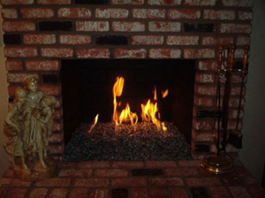 brick fireplace conversion to fireglass