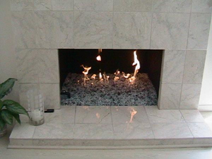 gas fireplace ideas using fireglass