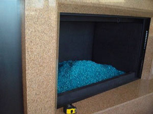 blue fireglass for fireplaces