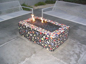 mosaic fire pit with fire crystals