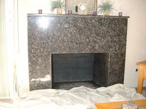marble fireplace painted black