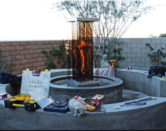 Outdoor Vortex Fire Installation in Palm Springs