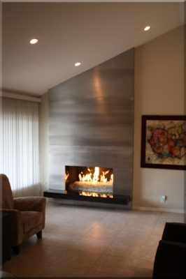 3 Sided Fireplace >> Aluminum or Stainless Steel fireplace surrounds. Stainless steel custom frames for fireplaces.